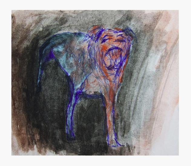 bloody dog, pen/ waterpaint